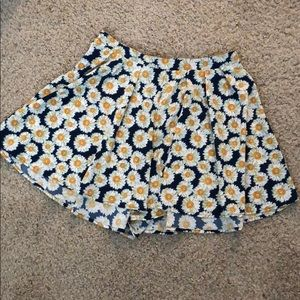 Sunflower flowy shorts- looks like a skirt when on